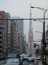 三田三丁目交差点から東京タワーを望む